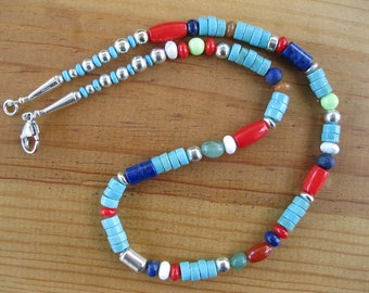Native American Necklace, Tribal Necklace, Native Necklace, Turquoise Necklace, Sterling Silver Necklace, Southwestern Necklace,