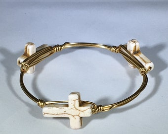 Cross bangle wire bracelet