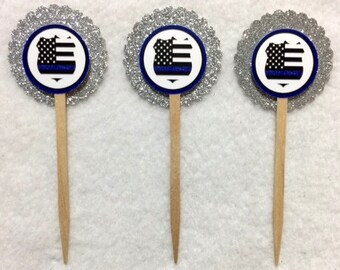 Set Of 12 Personalized Police  Cupcake Toppers (Your Choice Of Any 12)