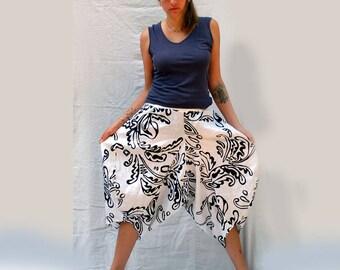Pure Linen Pants, Puffy Pants, Wide Casual Harem Pants, Festival Clothes, Black White Gold, Resplendent Rags, Comfortable Ladies Couture,OAK