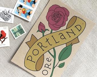 Portland Oregon Rose Postcard Set / Postcard Set of 6 / Rose City Souvenir Postcard / PDX Travel Postcard / Portland Oregon Illustrated Rose