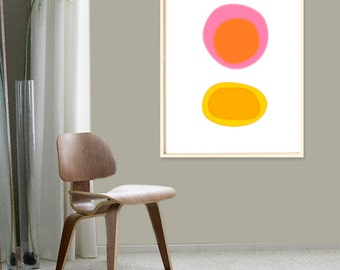 Mid Century Modern Art, Large Wall Art,  Colorful Print, Extra Large Wall Art, Abstract Art Print