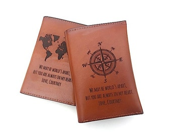Passport Cover Quote, Leather Passport Holder, Passport Case, Personalized Passport Cover, Student Abroad Travel Gift, Compass Passport,