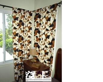 Western Curtain Set Cow Print Curtains VARIOUS SIZES