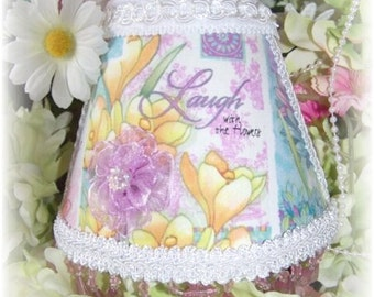 NEW Laugh with the Flowers Garden Collection NIGHT LIGHT Colorful Florals with Purple Teardrop Beading