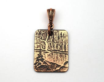 Copper snowy river pendant, small flat rectangular jewelry, optional necklace, 25mm