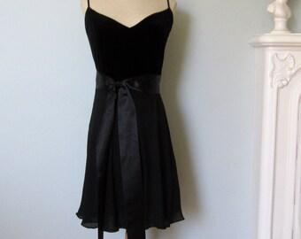 Black Silk Dress, Velvet Dress, Anne Klein Dress, Little Black Dress, New Years Dress, Black Dress, Black Velvet Dress, Black Evening Dress