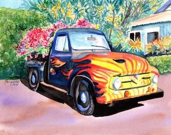 Hanapepe Truck 8x10 giclee print from Kauai Hawaii old trucks flames kauai fine art kauaiartist marionette kauai paintings