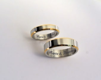 Engraved Promise Rings, Personalized Promise Rings, Two Tone Silver Gold Ring Set, Couple's Ring Set Engraved, Engraved Wedding Bands,