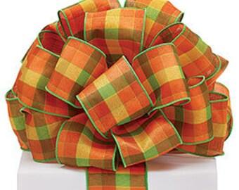 Premium Wired Ribbon, Fall Autumn Wired Ribbon, Wreath Ribbon, Bow Ribbon, Gift Package Ribbon, Green Orange Yellow Plaid Ribbon,