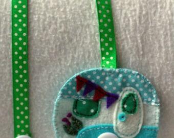 Turquoise retro caravan bookmark