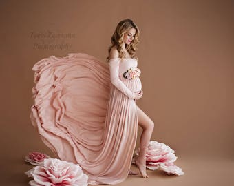 Miriam Gown • Long Sleeve Maternity Gown • Off the shoulder Maternity Gown • Cold Shoulder Maternity Dres • Maternity Photo Shoot