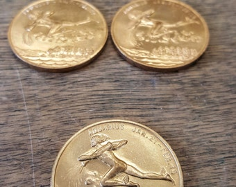 Aquarius - Lucky Coin - Zodiac Coin - Brass Vintage