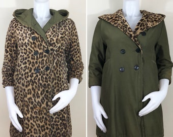50s 60s Faux Fur Leopard Army Green Hooded Reversible Double Breasted Coat, AS-IS, Size XS Petite