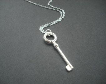 Cherished Elegant Key Necklace - anti tarnish sterling silver plated