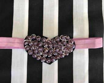 Baby headband, heart headband, valentines headband, purple headband, purple heart