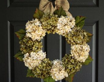 Beautiful Green & Cream Hydrangea Wreaths | Spring Wreath | Front Door Wreath | Winter Wreath | Outdoor Wreath | Door Wreath | Winter Wreath