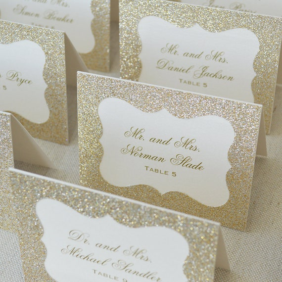 Gold Glitter Place Cards - Escort Card - Custom Placecard for Wedding, Sweet 16, Quinceañera, Bridal Showers - Gold Glitter Frame