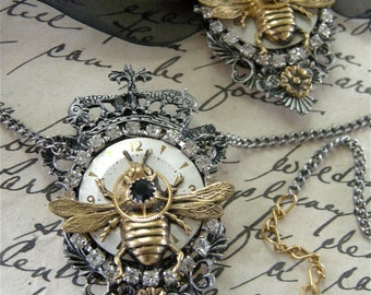Steampunk Queen Bee Necklace on Chain