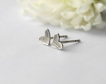Tiny sterling silver heart studs valentine earrrings
