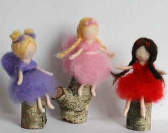 Tiny needle felted fairies, fairy ornaments, tiny fairies, Waldorf fairy
