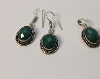 Real Emerald Pendant and Earrings