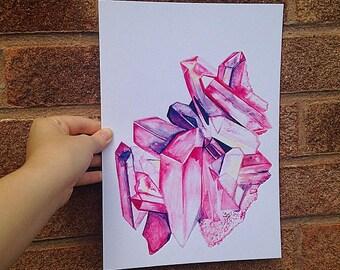 CRYSTAL Art Print ~ A4 Print ~ Wall Art ~ Quartz Crystal Print ~ Crystal Wall Art A4
