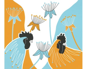 Rooster print, Graphic art birds, Cockerels, Yellow and blue art, Modern wall art, Art illustration birds, Rooster drawings, Seed heads
