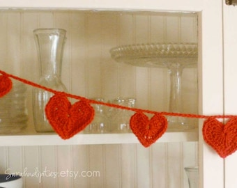 Valentine Heart Garland or Bunting - You Choose Color