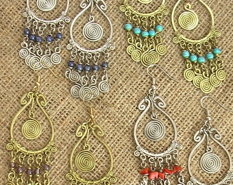 Free shipping, Earrings, special Spiral with dangles and Beads