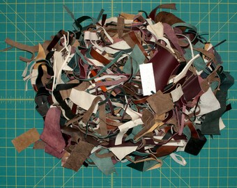 Grab Bag: Small Leather Scraps and Trimmings, Various Leather Remnant Pieces, 12oz / 340g