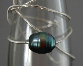 Taylor- Tahitian Peacock Pearl Pendant, green black peacock pearl, unisex pendant, sterling silver snake chain, gift idea for him or her