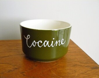 Cocaine hand painted vintage snack or sugar bowl recycled humor dining display