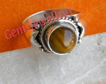 Tiger eye ring, 925 Sterling Silver Ring, Gemstone Ring, Tiger eye Stone Ring, Women Ring, Size 5 6 7 8 9 10 11 12 13 14 15 16