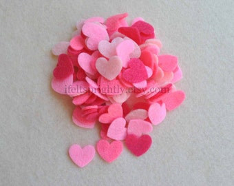 100 Piece Small Die Cut Felt Hearts, Pinks