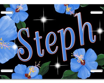 Hibiscus Flowers Blue Pink Purple Auto License Plate Personalize Gifts Girls Ladies Any Name Text Wall Plaque Display Anywhere Car Accessory