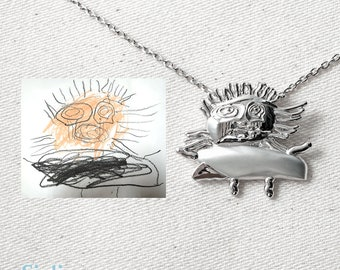 Actual Kid's Drawing on Necklace - Actual Handwriting Necklace - Personalized Child Memorial Necklace