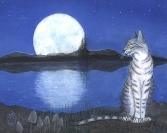 Tabby cat by lake during full moon, print of original painting