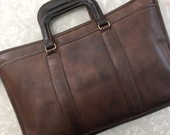 Vintage Coach Attache Brown Leather Briefcase Office Bag