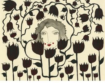 Art Print- Friends With the Flowers, black flowers, botanical print