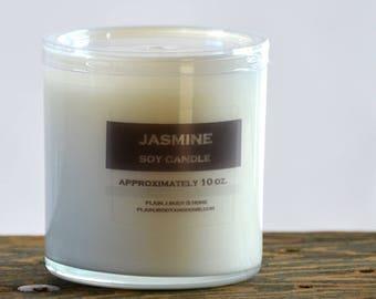 Jasmine Soy Candle White Glass Tumbler 10oz  - musk candle - jasmine candle - floral candle - spring candle - summer candle