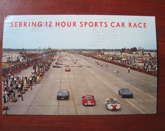 Sebring 12 Hour Sports Car Race Postcard 1972