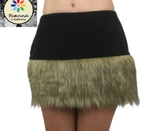 Faux Fur and Fleece skirt,Golden Brown and Black Animal Cosplay Anime Convention Rave Outfit Costume Dress Up, Vikings Medieval mini-skirt