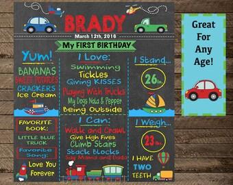 Transportation Theme Birthday, Boy's Birthday Chalkboard Sign, Trucks, cars, trains, boats, First Birthday, Boy's Transportation Birthday