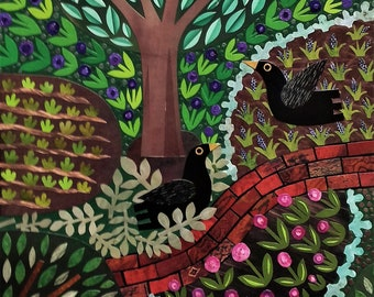 Original-Collage, Amseln, Garten, Naive, Blumen, Vögel, Wandbilder, originale, Geschenk für Gärtner, für Vogelfreunde, Amanda weiss
