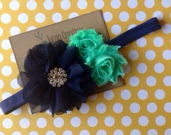 Navy & Mint Headband Mint Chevron Shabby Flower Rhinesone
