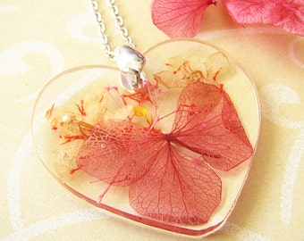 Real Flower Necklace Resin Necklace Heart Necklace Resin Jewelry Real Flower Jewelry Pressed Flowers