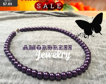 Thanksgiving SALE SEXY VIOLET - Violet Pearl Necklace, Pearl, Purple Necklace, Prom Wedding Gothic Boho Necklace, Classy Short Necklace
