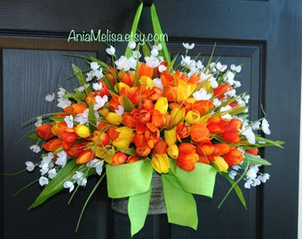spring wreath, spring wreaths, Easter wreath, Mother's Day wreath, front door wreaths Mother's day gift decor outdoor