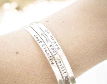 1 (One) THIN Sterling Silver CUFF Hand Stamped and Personalized with Your Name or Quote Customized Stacking Bracelet